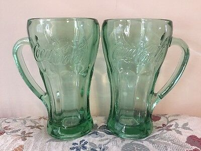 Set 2 Libby Coca Cola Embossed Heavy Large Glass Mugs Handles Green Tint