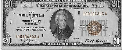 $20 Dollar 1929 National Currency Minneapolis Federal Reserve Bank Note LOOK!!!!