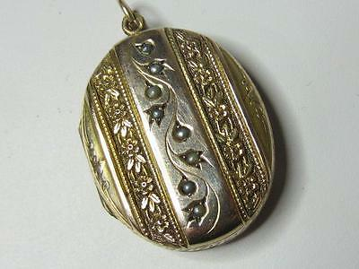 Antique Victorian Yellow Gold Filled Seed Pearl Repousse Big Oval Photo Locket