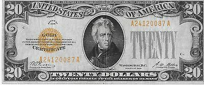 $20 Dollar 1928 Gold Certificate Very NIce Note LOOK!!!!  FREE SHIPPING