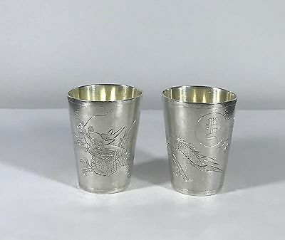 Chinese Export Sterling Silver Cups Goblet By Tuck Chang Sterling