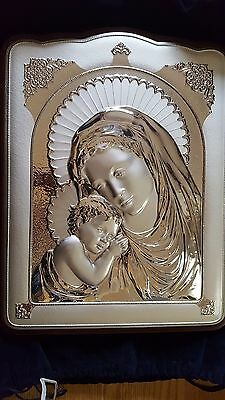 Silver Madonna and Child Plaque