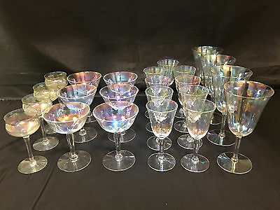 23-piece Set of Iridescent Crystal Stemware: Cordials, Wine, Champagne, Goblets