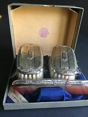 NIce Vintage  Sterling Silver comb &2 brushes with box good condition