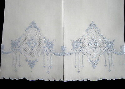 2 Exquisite Antique Appenzell Blue Hand Embroidered White Linen Guest Towels