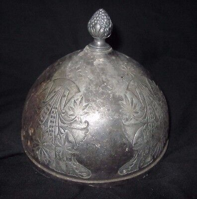 Antique Victorian  Silverplate Ornate Cheese/butter Dome W/berry Finial