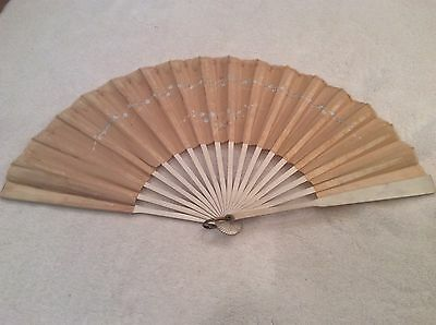 Vintage Wood And Silk Painted Hand Fan