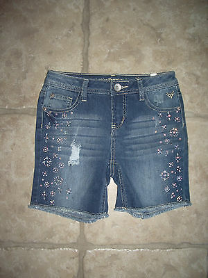 Nwt - Girls Justice Premium Jeans Shorts  Stretch Rhinestones  Sz 12 Regular