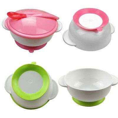 Hot Kids Baby Temperature Feeding Training Bowl Spoon Suction Cup Tableware Set
