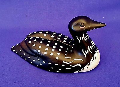 Beautiful Porcelain Loon Figurine And Bank With Stopper On The Bottom