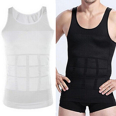 Men Slim Body Shaper Vest Tops Shirt Tummy Waist Underwear Belly Slimmer Kawaii