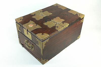 = Antique Chinese Rosewood Mirrored Jewelry/Vanity Chest Box