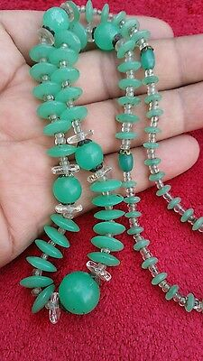 Vtg. Chinese Jade Bead Disc Clear Stones Necklace
