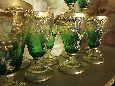 19th Moser Bohemian Crystal Silver overlaid Art glass Green to clear Goblets 12p