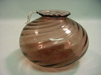 Antique Hand Blown Purple Art Glass Swirled Jug Vase