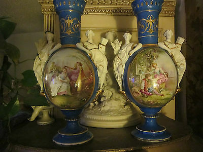 Pair French Old Paris style Bisque/Porcelain  Figural/scenic decorated Urns/vase