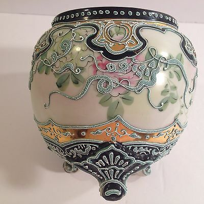 Antique Ball Vase Japanese Nippon Porcelain China Ornate Moriage Pink Peony Gold