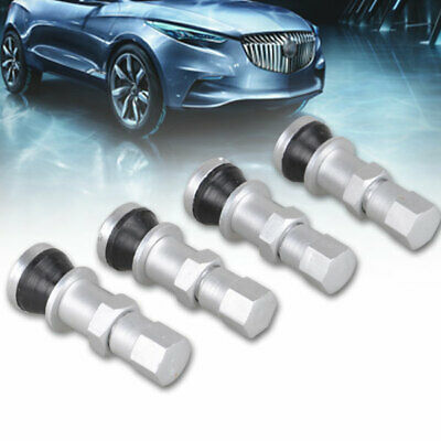 4pcs Silver Car Wheel Tire Tubeless Valves Stem Bolt-in Alloy with Dust Caps