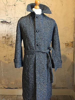 Vintage herringbone grey belted single breasted French overcoat size 40