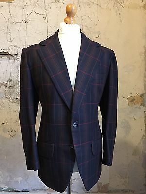 Vintage 1970's bespoke checked wool and cashmere suit size 40 42