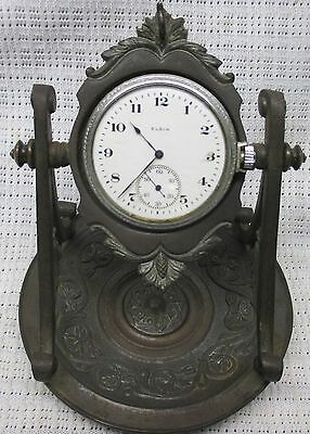 Vtg POCKETWATCH PIVOTING EASEL STAND, CAST IRON W/ ANTIQUE BRONZE FINISH