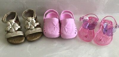 Lot Of 3 Toddler Girls Sandals Skechers Pink Gold Light Up's /  Jellies Size 5-6