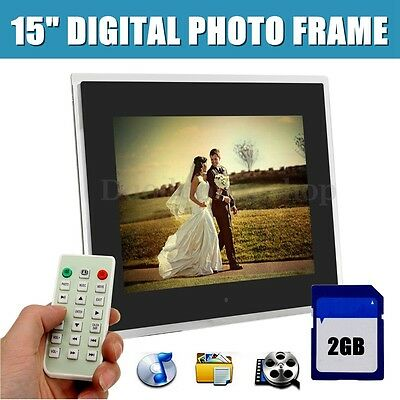 "15"" LED HD Digital Picture Photo Frame Movie MP4 Player Remote Control+2GB Card"