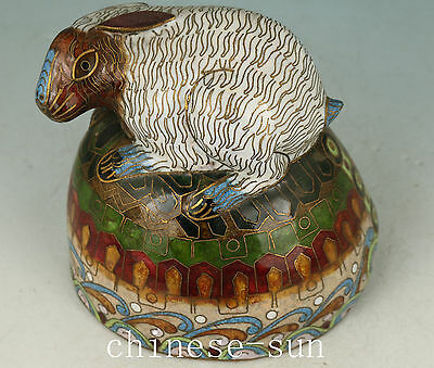 Nice Chinese Old Cloisonne Handmade Painting Rabbit Stand Turtle Statue Figure