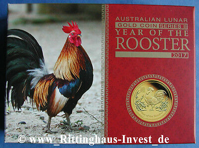 Lunar II Hahn Gold  PROOF 1/10 Goldmünze BOX Year of the Rooster 2017 PP Platte