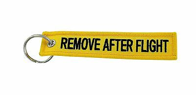 Remove after flight yellow keychain key ring tag luggage before aviation