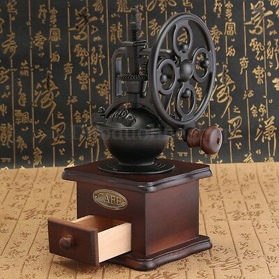 Antique Style Manual Coffee Bean Spice Nuts Grinder Hand Mill Grinding Ceramic