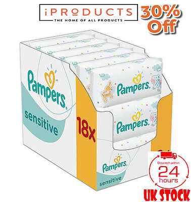 Pampers Sensitive Baby Wipes Pack of 18 EXTRA LARGE PACK NEW