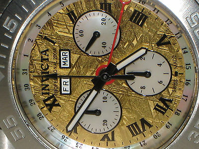Invicta Gold Meteorite Calendar Chronograph Watch---Rare Limited Swiss Edition