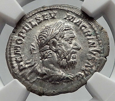 MACRINUS 217AD Rome Authentic Ancient Silver Roman Coin NGC Certified XF i60203