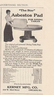 1911 Kerney Mfg Co Chicago IL Ad: The Star Asbestos Pad for Dining Room Tables