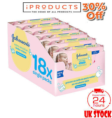 Johnson's Baby Extra Sensitive Fragrance Free Wipes Johnsons Wet Wipes 18 PACKS