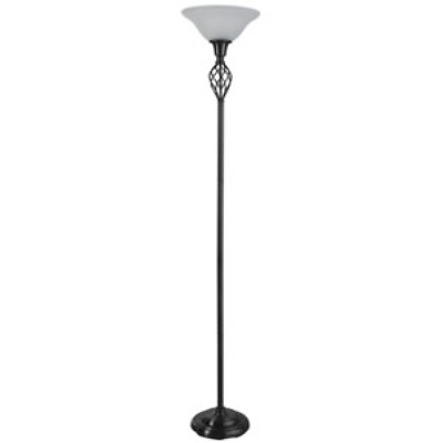 Large Antique Style Black Torchiere Floor Lamp - Vintage Style for Any Room