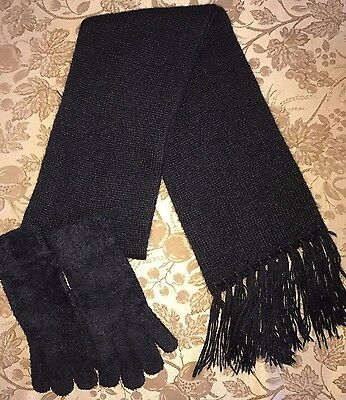 WOMENS SOLID BLACK WINTER SCARF STRETCH GLOVES one size SUPER CLEAN WARM @@