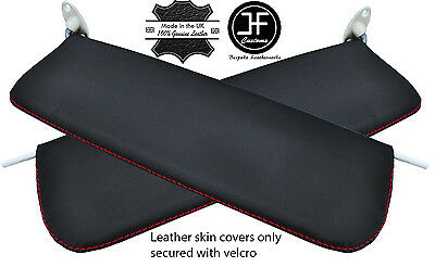 BLACK STITCH 2X SUN VISORS LEATHER SKIN COVERS FITS VW VOLKSWAGEN CADDY 04-10
