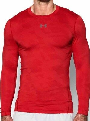 Under Armour ColdGear Jacquard Long Sleeve Mens Running Top - Red