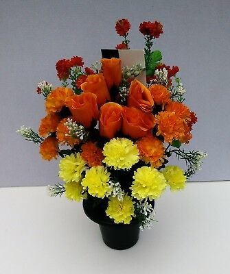 Artificial Silk Flowers Cemetery Grave Pot - Yellow, Orange,Red & White Flowers