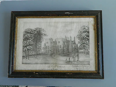 Early 19th C Folk Art Primitive Charcoal Drawing Painting Grove Place 1826