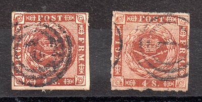 Denmark 1854-58 4sk x 2 used SG15 and 20 WS3797