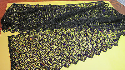 "Antique Fine Delicate Black Lace Trim 10""x86"" Doll Victorian Projects"