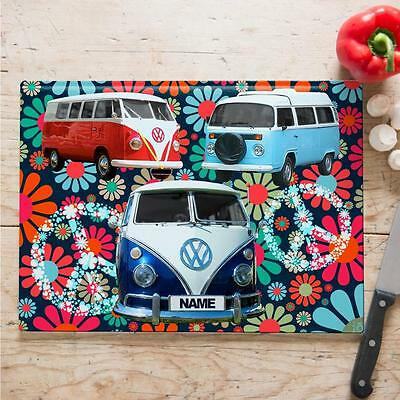 Personalised  Campervan Hippy Cooking Baking Glass Chopping Board Home Gift