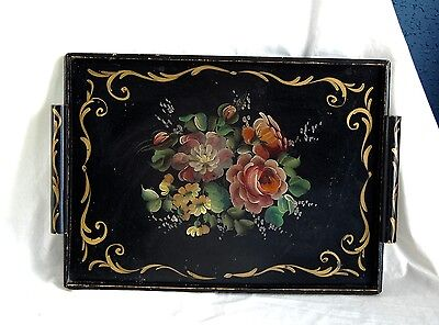 Antique Vintage Tole Style Hand Painted Wood Tray