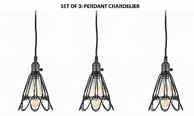 Set of 3 - Wrought Iron Vintage Barn Metal Pendant Chandelier Industrial Loft