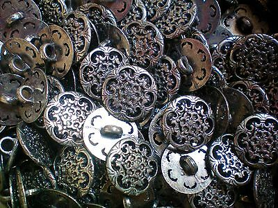 15mm 24L Antique Silver Filigree Flower Scroll Shank Jacket Costume Buttons XM39