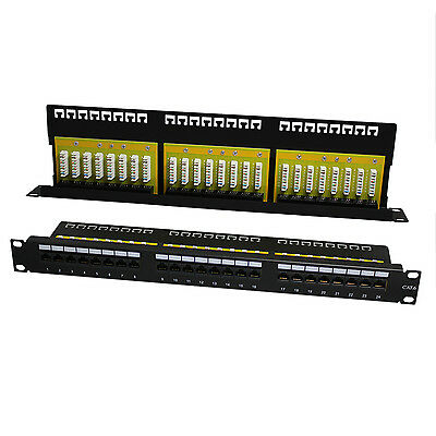 """1U 19"""" Cat6 Utp Right Angle 24 Port Way Patch Panel Rack Mount Cable Punch"""