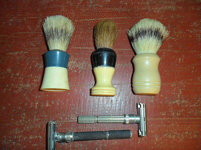 Lot of 5 Vintage Shaving Items: 3 Brushes and 2 Gillette Safety Razors